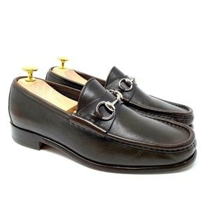 GUCCI Brown Leather Silver Horsebit